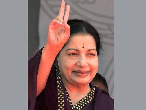 AIADMK Supremo J Jayalalithaa at an election campaign rally