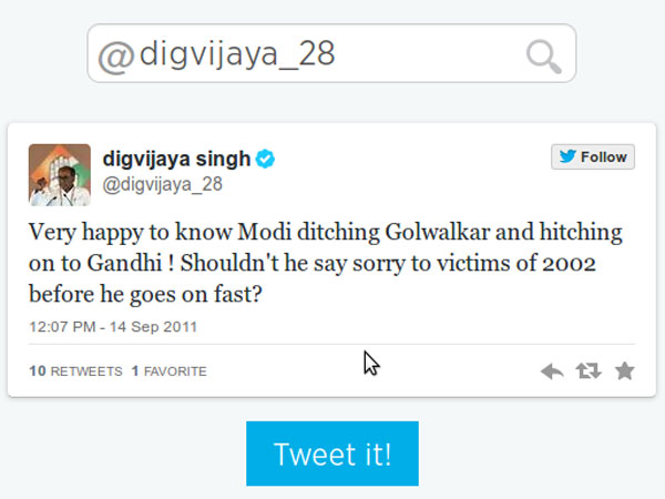 Digvijay Singh is Congress General Secretary and may be fielded against Modi from Varanasi.