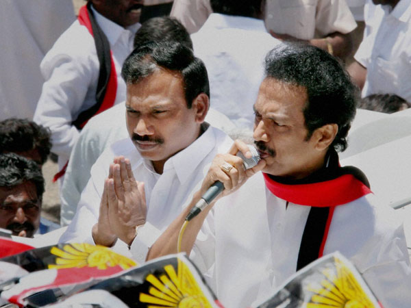 MK Stalin and A Raja during the election campaign rally