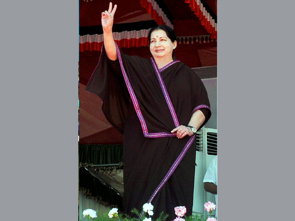 Jayalalithaa at an election campaign rally in Puducherry