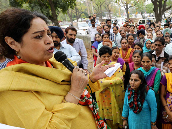 BJP candidate Kirron Kher during her election campaign