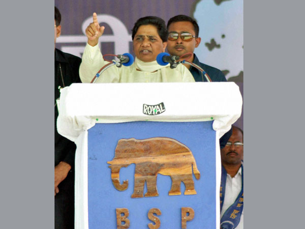 BSP chief Mayawati addresses an election rally in Amravati