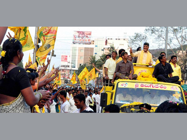 TDP President N Chandrababu Naidu during a road show