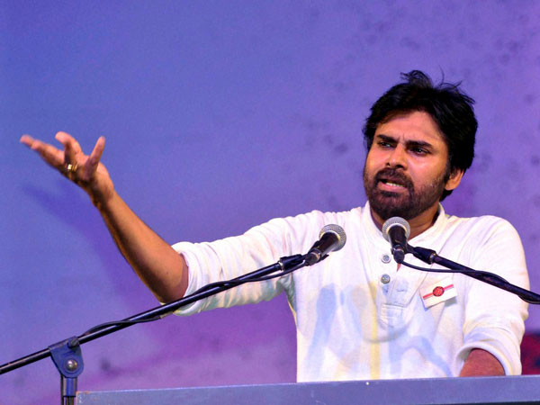 Pavan Kalyan addressing at the launch of his new