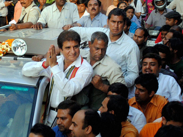 Raj Babbar during an election campaign in Ghaziabad