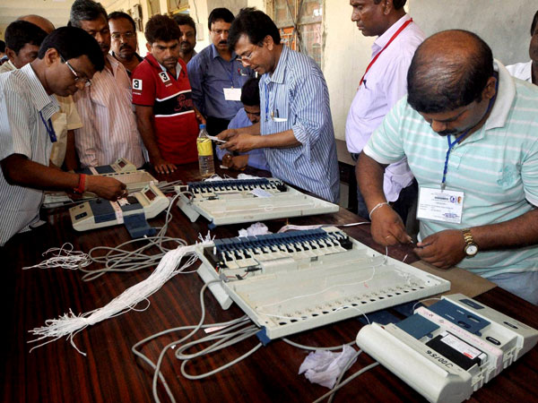 Engineers of ECIL check Electronic Voting Machines