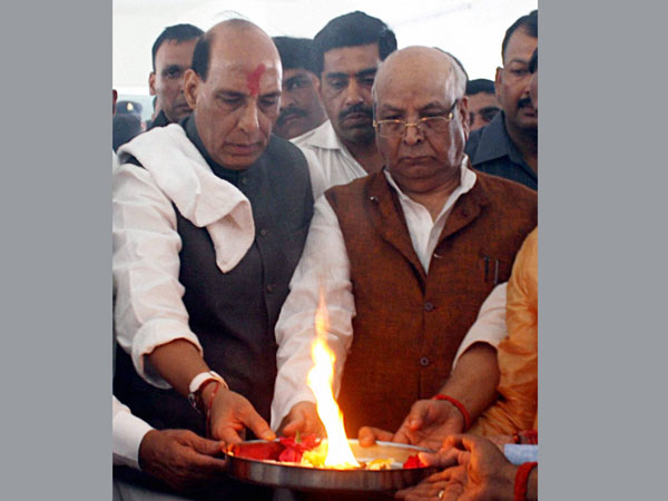 BJP President Rajnath Singh and Lallji Tandon