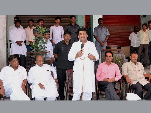 Maharashtra Chief Minister Ashok Chavan addresses a rally