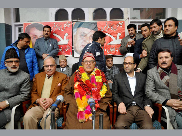 Farooq Abdullah along with National Conference senior party leaders