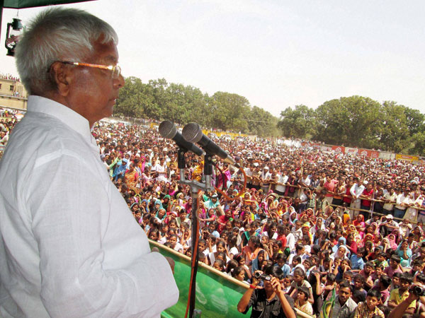 RJD chief Lalu Prasad at election meeting in Jamui