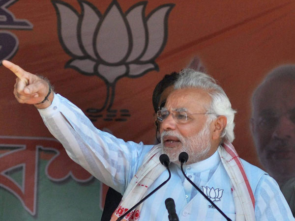 Narendra Modi addressing an election rally
