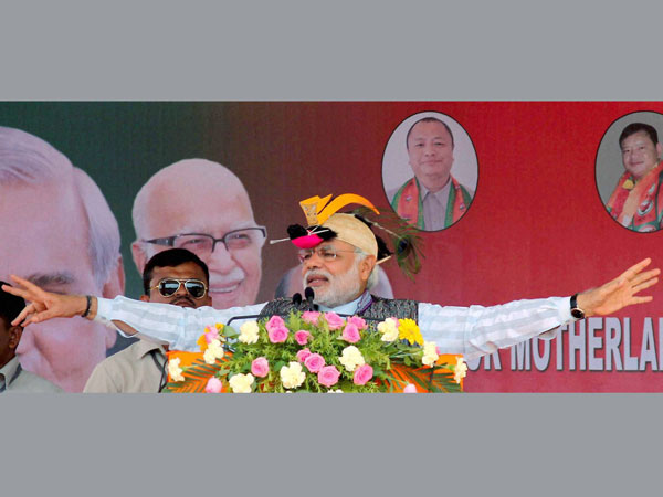 BJP Prime ministerial candidate Narendra Modi addressing an election rally