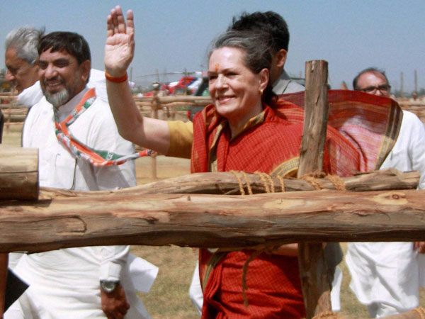 UPA Chairperson Sonia Gandhi during an election campaign