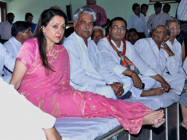 Hema Malini during a meeting with party workers