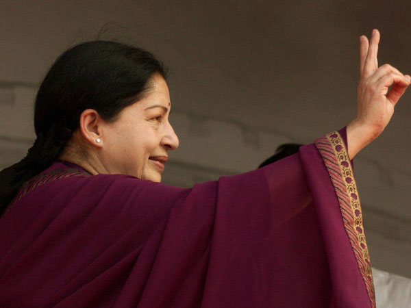 AIADMK party supremo J Jayalalitha during the election campaign