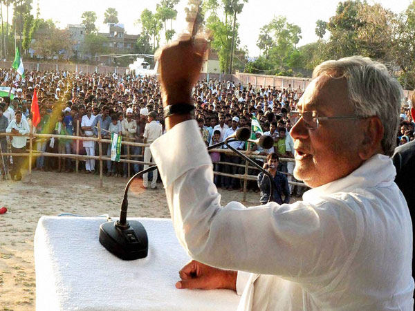 Bihar Chief Minister Nitish Kumar addressing election rally