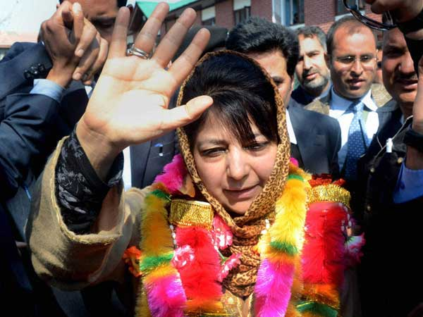 Mehbooba Mufti waves to supporters after filing her nomination papers