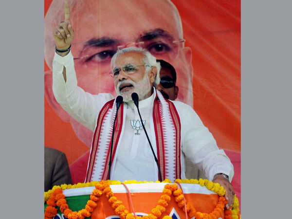 Narendra Modi addressing during an election rally