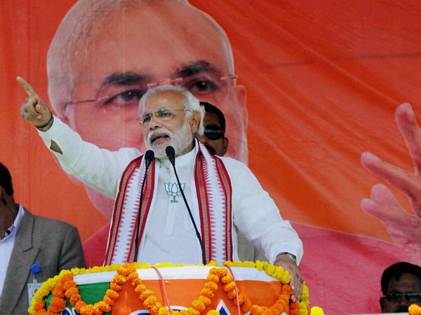 Narendra Modi addressing during an election rally at Koderma