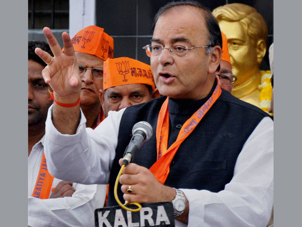 Arun Jaitley along with the party workers during a program