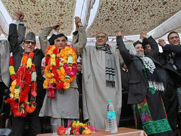 Farooq Abdullah and State Congress chief Saif-ud-Din Soz