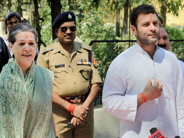Sonia Gandhi with party Vice President Rahul Gandhi
