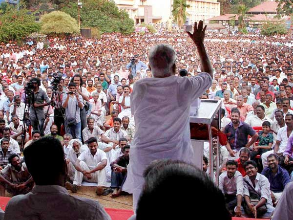 V S Achuthanandan addressing a rally