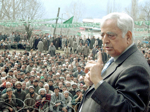 Mufti Mohd Sayeed addressing an election rally