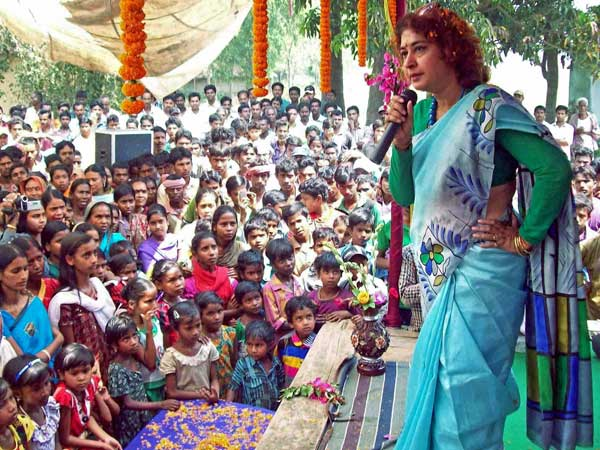 TMC candidate Satabdi Roy addresses an election campaign