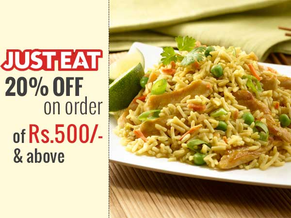 JustEat offers 20% OFF on order of Rs.500/- & above