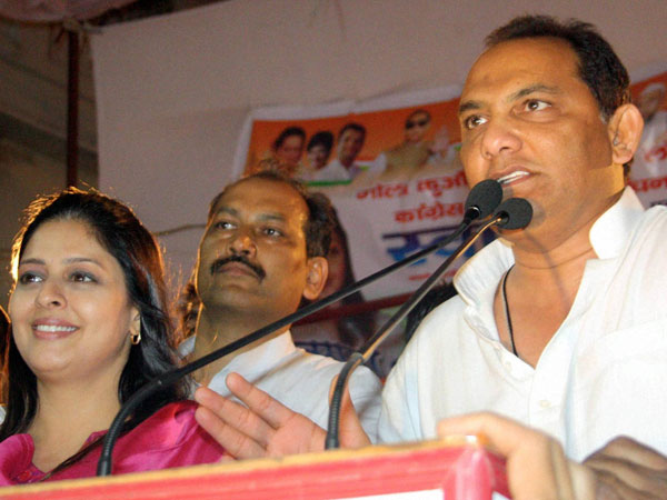 Mohammad Azharuddin campaigns for party candidate Nagma