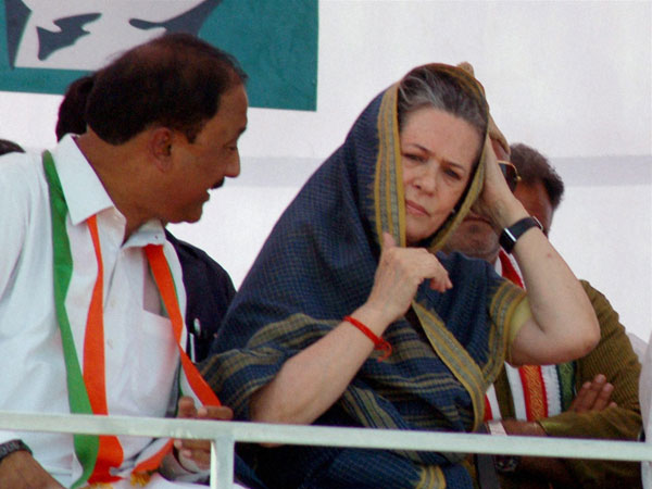 Sonia Gandhi during an election campaign rally