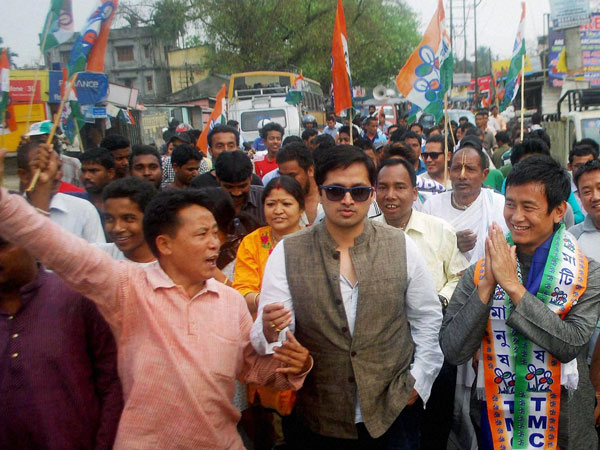 MC candidate Baichung Bhutia during his election campaign