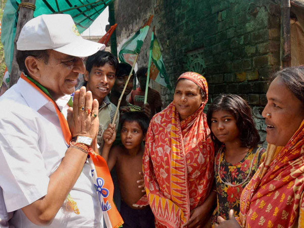 Dinesh Trivedi from Barrackpore during his election campaign