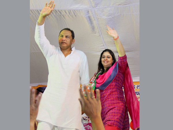 Mohd Azharuddin and party's candidate from Meerut Nagma