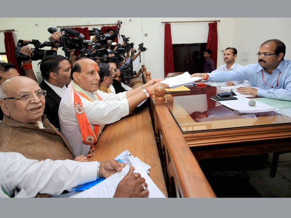 Rajnath Singh filing his nomination papers