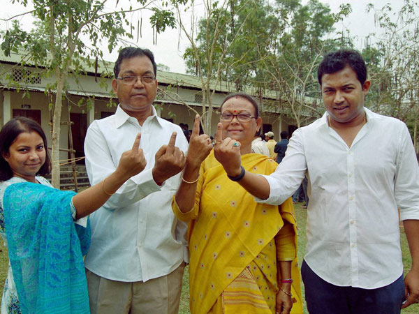 Pagan Singh Ghatowar with his family after casting vote