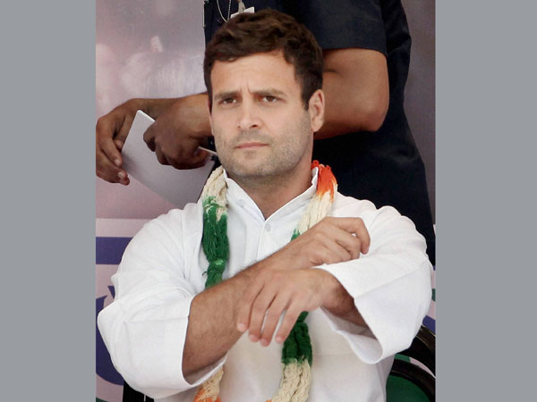 Rahul Gandhi during an election campaign rally