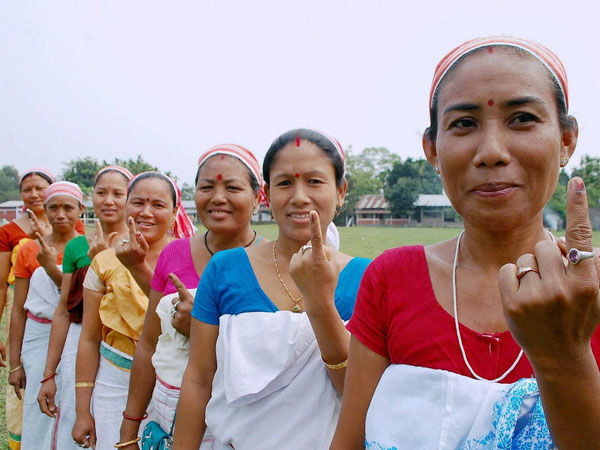 Deori community women show their mark after casting their vote