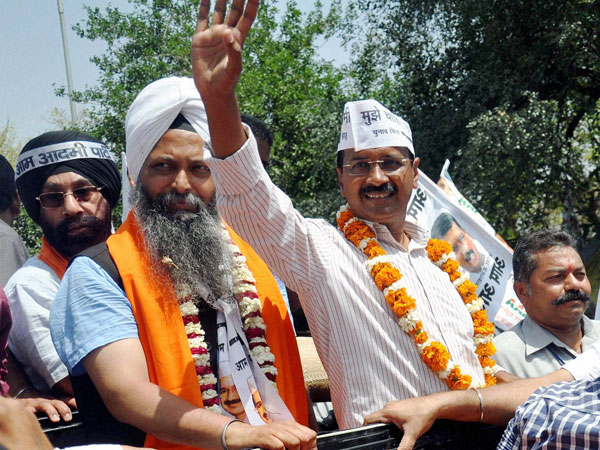 Arvind Kejriwal during a road show