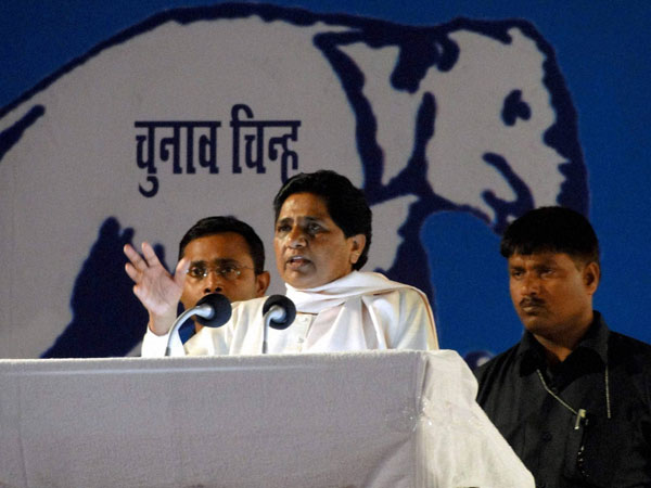 BSP supremo Mayawati addressing at an election rally