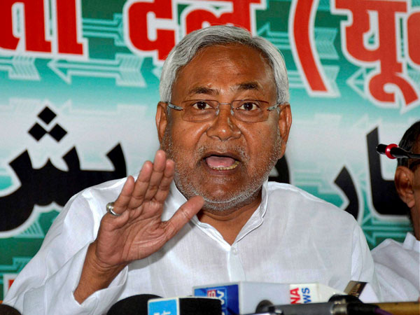 Nitish Kumar addressing a press conference