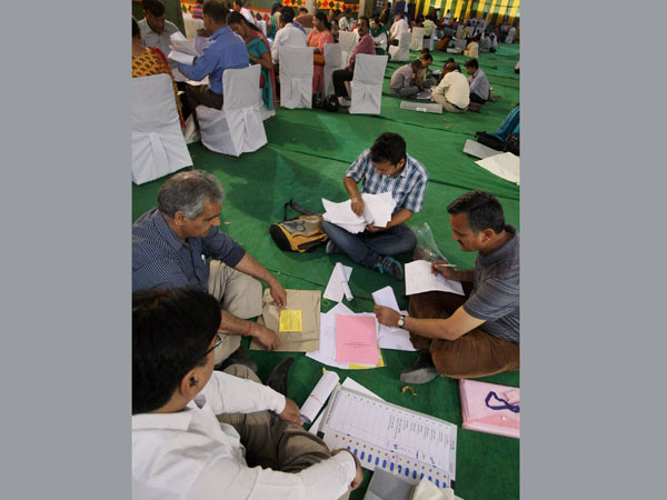 Polling officials preparing for the Lok Sabha election