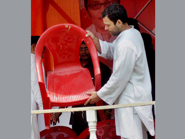 Rahul Gandhi at an election rally in Silchar