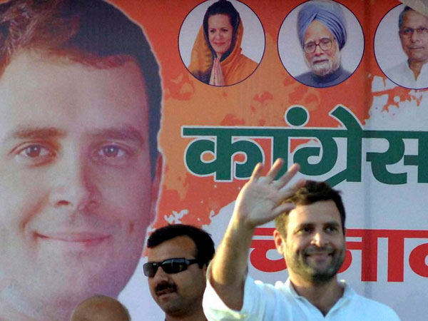 Rahul Gandhi waves at an election meeting in Morena