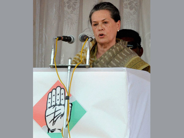 Sonia Gandhi addresses an election rally in Kolar