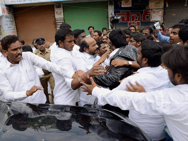 TDP Supporters attack BC leader R Krishnaian