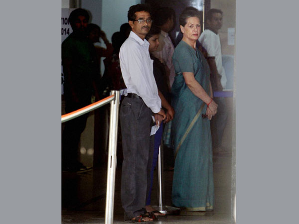 Sonia Gandhi waits to cast her vote