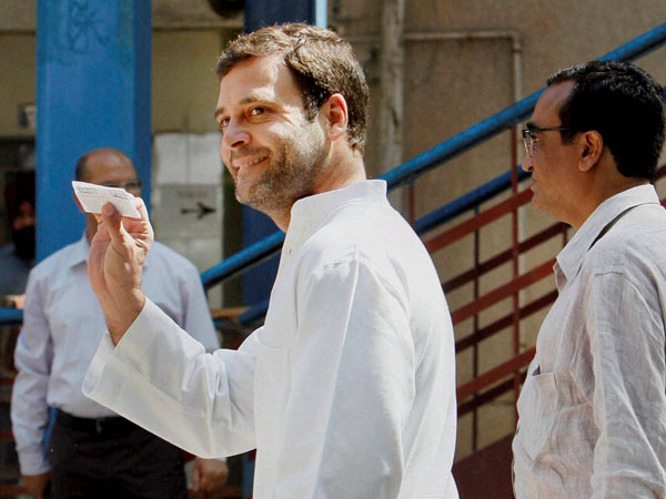 Rahul Gandhi arrives to cast his vote