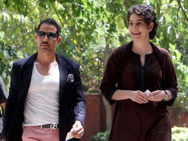Priyanka Vadra with husband Robert Vadra arrives to cast their vote